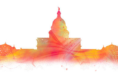Abstract Digital Photograph - Watercolor Of The Texas Capital by Tod and Cynthia Grubbs