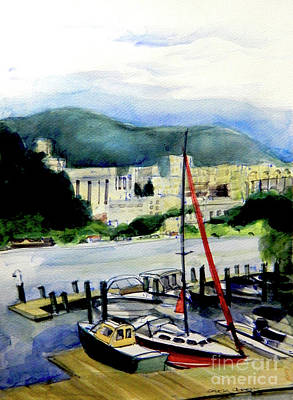 Painting - Watercolor Of Westpoint From Across The Hudson River Marina by Greta Corens