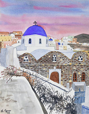 Painting - Watercolor - Oia Church At Sunset by Cascade Colors