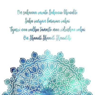 Photograph - Watercolor Om Shaanti Yoga Opening Prayer Mandala by Leah McPhail