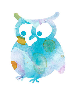 Watercolor Owl Art Print by Nursery Art