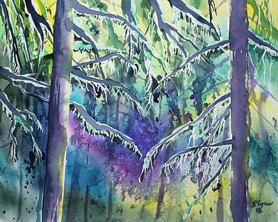 Painting - Watercolor - Pacific Northwest Tree Impression by Cascade Colors