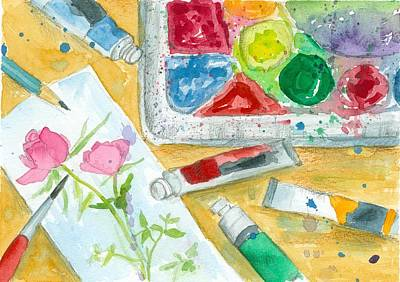 Painting - Watercolor Painter's Palette by Cathie Richardson