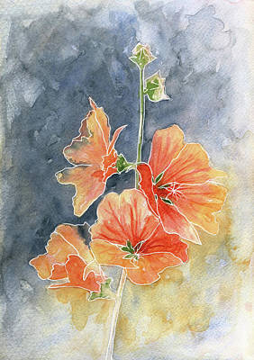 Painting - Watercolor Painting 2 Alcea Rosea by Christine MARTIN