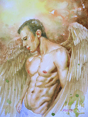 Painting - Watercolor Painting Angel Of Man #16-12-19 by Hongtao Huang