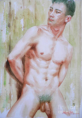 Painting - Watercolor Painting Asian Male Nude Man On Paper#16-12-15 by Hongtao Huang
