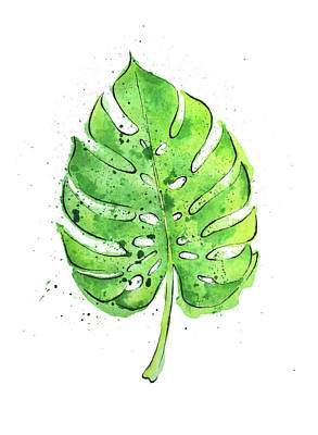 Philodendron Painting - Watercolor Painting Of A Philodendron Leaf  by Andrea Hill