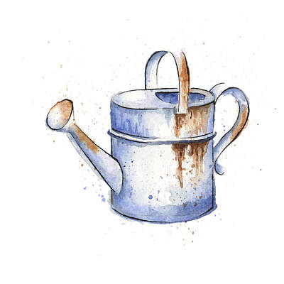 Watercolor Painting Of A Rusty Watering Can Spring Original by Andrea Hill