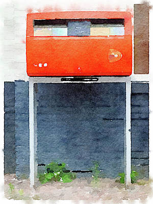 Zip Code Photograph - Watercolor Painting Of An Orange Dutch Postbox/mailbox by Anita Van Den Broek