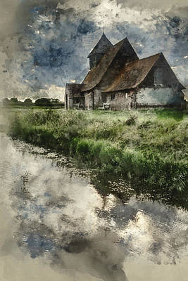 Marshes. Brooks Photograph - Watercolor Painting Of Ancient Medieval Church Landscape Against by Matthew Gibson
