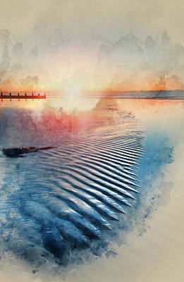 Watercolor Painting Of Beautiful Low Tide Beach Vibrant Sunrise Art Print by Matthew Gibson
