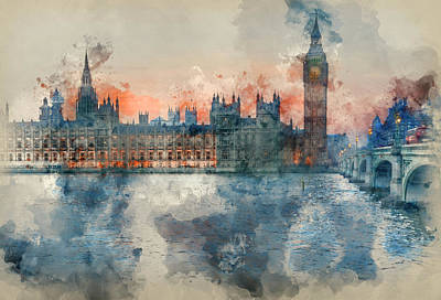 Historic Architecture Photograph - Watercolor Painting Of Big Ben And Houses Of Parliament During Winter Sunset. by Matthew Gibson