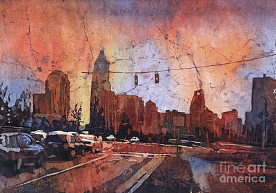 Painting - Watercolor Painting Of Charlotte, Nc Skyline At Sunset- North Ca by Ryan Fox