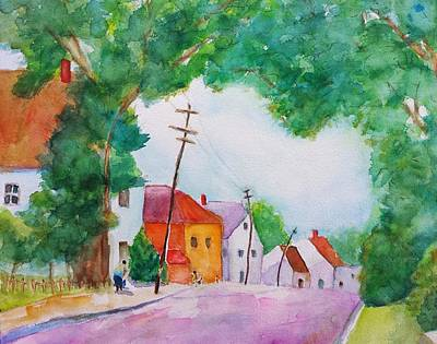 Watercolor Painting Of Cottage Street Original