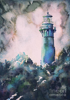 Painting - Watercolor Painting Of Currituck Lighthouse In The Outer Banks,  by Ryan Fox