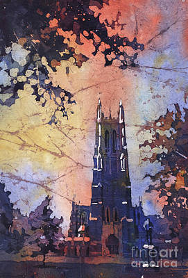 Painting - Watercolor Painting Of Duke Chapel On The Duke University Campus by Ryan Fox