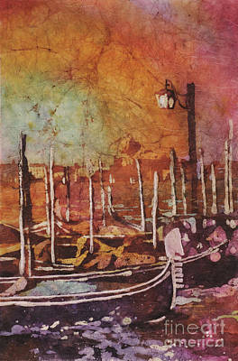 Fine Art Batik Painting - Watercolor Painting Of Gondola Boats On Piazza San Marco At Sunset In The Medieval City Of Venice I by Ryan Fox