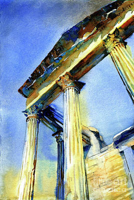 Painting - Watercolor Painting Of Roman Temple At The Ruins Of Dougga In Tu by Ryan Fox