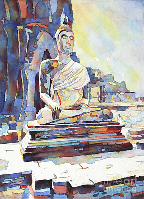 Painting - Watercolor Painting Of Seated Buddha At Sukothai Archaeological  by Ryan Fox