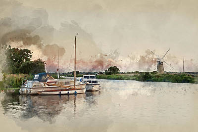 Water Filter Photograph - Watercolor Painting Of Stunning Landscape Of Windmill And River  by Matthew Gibson