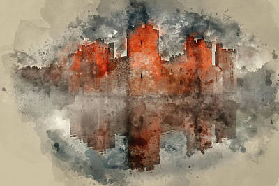 Watercolor Painting Of Stunning Moat And Castle In Autumn Fall S Art Print by Matthew Gibson