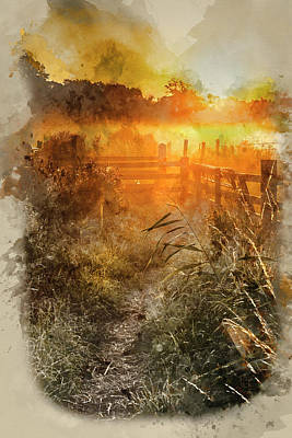 Gate Watercolor Photograph - Watercolor Painting Of Stunning Sunrise Landscape Over Foggy Eng by Matthew Gibson