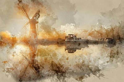 Architcture Photograph - Watercolor Painting Of Stunnnig Landscape Of Windmill And Calm R by Matthew Gibson