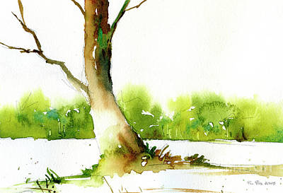 Painting - Watercolor Painting Of Trees In Forest.  Landscape Painting Of T by Ryan Fox