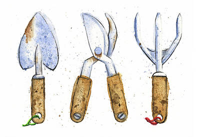 Watercolor Painting Of Various Gardening Tools Original by Andrea Hill