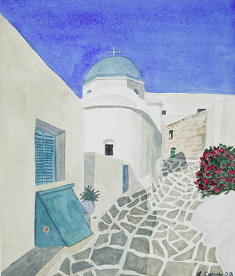 Painting - Watercolor - Paros Church And Street Scene by Cascade Colors