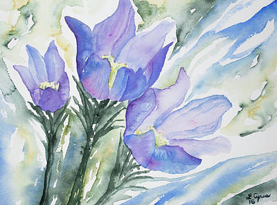 Painting - Watercolor - Pasque Flowers by Cascade Colors