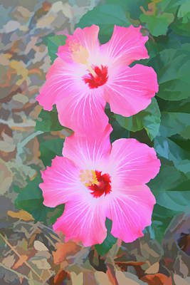 Photograph - Watercolor Pink Hibiscus Blooms Vertical by Aimee L Maher ALM GALLERY