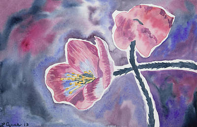 Painting - Watercolor - Pink Wildflower Impression by Cascade Colors