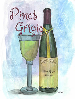 White Wine Painting - Watercolor Pinot Grigio by Debbie DeWitt