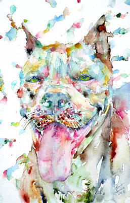 Painting - Watercolor Pit Bull.1 by Fabrizio Cassetta