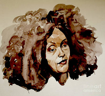 Painting - Watercolor Portrait Of A Woman With Bad Hair Day by Greta Corens
