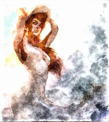 Digital Art - Watercolor Poser by Mario Carini