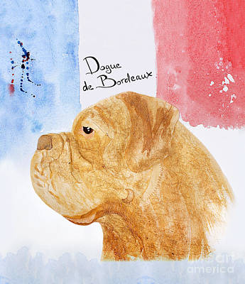 Watercolor Pet Portraits Digital Art - Watercolor Postcard Dog Dogue De Bordeaux by Maryna Lievshyna