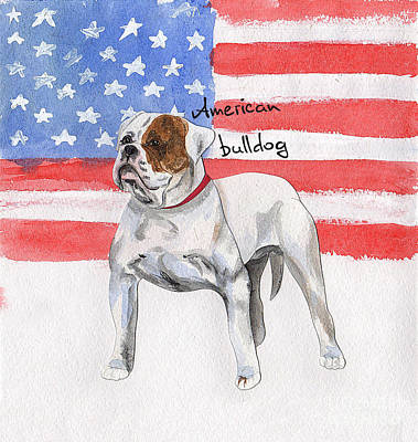 Watercolor Pet Portraits Digital Art - Watercolor Postcard Dogs American Bulldog by Maryna Lievshyna