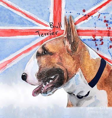 Watercolor Pet Portraits Digital Art - Watercolor Postcard Dogs Bull Terrier by Maryna Lievshyna