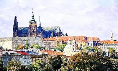 Prague Castle Digital Art - Watercolor Prague Castle Painting by Hamik ArtS
