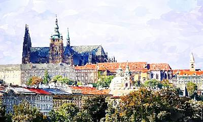 Bohemia Digital Art - Watercolor Prague Castle Painting by Hamik ArtS