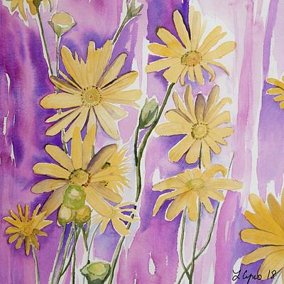 Painting - Watercolor - Prairie Dock Wildflowers by Cascade Colors