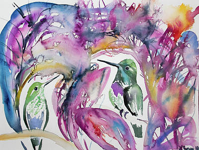 Painting - Watercolor - Purple-bibbed Whitetip Hummingbirds by Cascade Colors