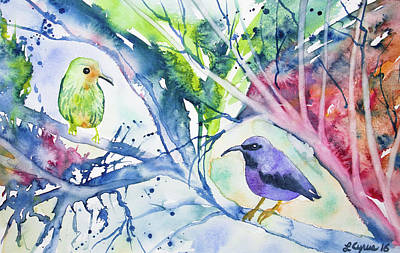 Painting - Watercolor - Purple Honeycreepers by Cascade Colors