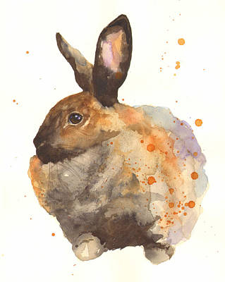 Watercolor Rabbit Print - I Am Tahiti Print by Alison Fennell