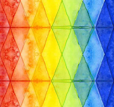 Rainbow Wall Art - Painting - Watercolor Rainbow Pattern Geometric Shapes Triangles by Olga Shvartsur