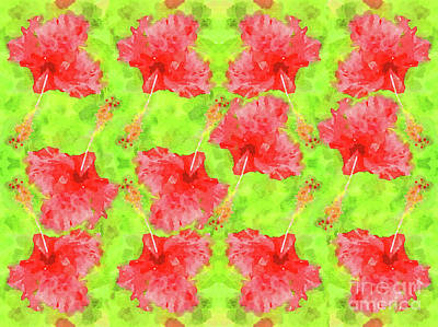 Digital Art - Watercolor Red Hibiscus Tropical Aloha Botanical by Beverly Claire Kaiya