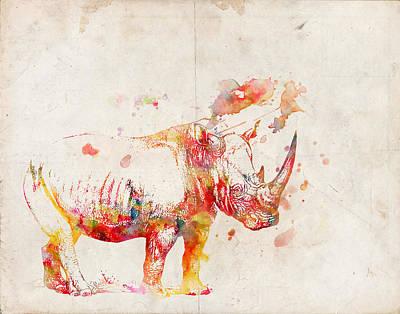 Rhinoceros Digital Art - Watercolor Rhino by Pati Photography