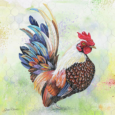 Painting - Watercolor Rooster-a by Jean Plout
